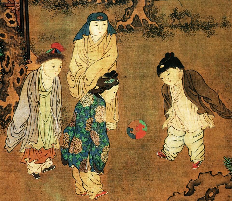 Song dinasztia idejében cuju-t játszó gyerekek